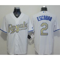 Royals #2 Alcides Escobar White New Cool Base 2015 World Series Champions Gold Program Stitched Baseball Jersey