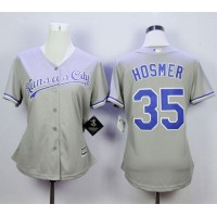 Royals #35 Eric Hosmer Grey Road Women's Stitched Baseball Jersey