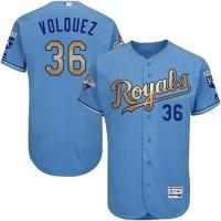 Royals #36 Edinson Volquez Light Blue FlexBase Authentic 2015 World Series Champions Gold Program Stitched Baseball Jersey