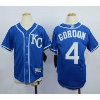Royals #4 Alex Gordon Blue Cool Base Stitched Youth Baseball Jersey