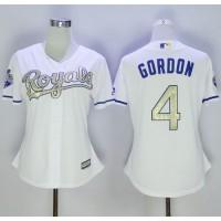 Royals #4 Alex Gordon White 2015 World Series Champions Gold Program Cool Base Women's Stitched Baseball Jersey