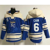 Royals #6 Lorenzo Cain Light Blue Sawyer Hooded Sweatshirt Baseball Hoodie