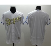 Royals Blank White FlexBase Authentic 2015 World Series Champions Gold Program Stitched Baseball Jersey