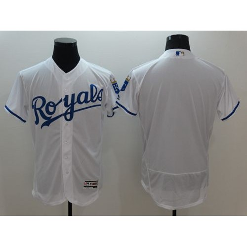 Royals Blank White Flexbase Authentic Collection Stitched Baseball Jersey 446900f7e