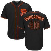 San Francisco Giants #40 Madison Bumgarner Black Team Logo Fashion Stitched MLB Jersey