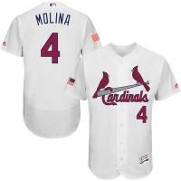 St. Louis Cardinals #4 Yadier Molina White Stitched 2016 Fashion Stars & Stripes Flex Base Baseball Jersey