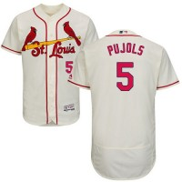 St.Louis Cardinals #5 Albert Pujols Cream Flexbase Authentic Collection Stitched MLB Jersey