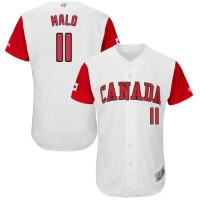 Team Canada #11 Jonathan Malo White 2017 World Baseball Classic Authentic Stitched MLB Jersey