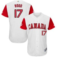 Team Canada #17 Eric Wood White 2017 World Baseball Classic Authentic Stitched MLB Jersey