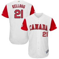 Team Canada #21 Ryan Kellogg White 2017 World Baseball Classic Authentic Stitched MLB Jersey