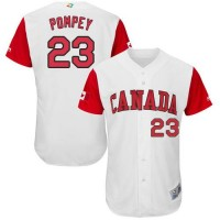 Team Canada #23 Dalton Pompey White 2017 World Baseball Classic Authentic Stitched MLB Jersey