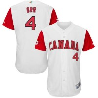 Team Canada #4 Pete Orr White 2017 World Baseball Classic Authentic Stitched MLB Jersey