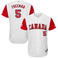 Team Canada #5 Freddie Freeman White 2017 World Baseball Classic Authentic Stitched MLB Jersey