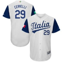 Team Italy #29 Francisco Cervelli White 2017 World Baseball Classic Authentic Stitched MLB Jersey