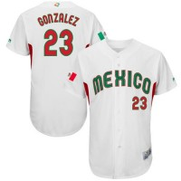 Team Mexico #23 Adrian Gonzalez White 2017 World Baseball Classic Authentic Stitched MLB Jersey