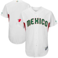 Team Mexico Blank White 2017 World Baseball Classic Authentic Stitched MLB Jersey