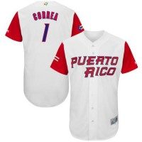 Team Puerto Rico #1 Carlos Correa White 2017 World Baseball Classic Authentic Stitched MLB Jersey