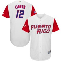 Team Puerto Rico #12 Francisco Lindor White 2017 World Baseball Classic Authentic Stitched MLB Jersey