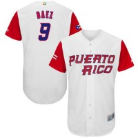 Team Puerto Rico #9 Javier Baez White 2017 World Baseball Classic Authentic Stitched MLB Jersey