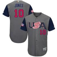 Team USA #10 Adam Jones Gray 2017 World Baseball Classic Authentic Stitched Youth MLB Jersey