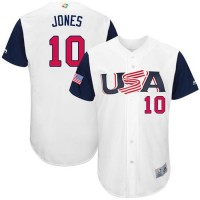 Team USA #10 Adam Jones White 2017 World Baseball Classic Authentic Stitched Youth MLB Jersey