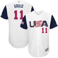 Team USA #11 Josh Gould White 2017 World Baseball Classic Authentic Stitched MLB Jersey
