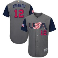 Team USA #12 Nolan Arenado Gray 2017 World Baseball Classic Authentic Stitched MLB Jersey