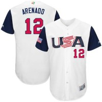 Team USA #12 Nolan Arenado White 2017 World Baseball Classic Authentic Stitched Youth MLB Jersey