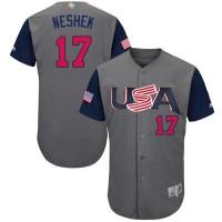 Team USA #17 Pat Neshek Gray 2017 World Baseball Classic Authentic Stitched Youth MLB Jersey