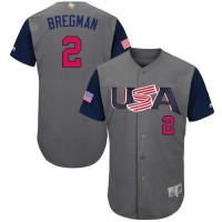 Team USA #2 Alex Bregman Gray 2017 World Baseball Classic Authentic Stitched Youth MLB Jersey