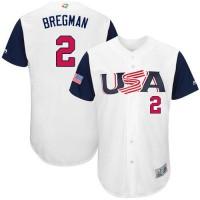 Team USA #2 Alex Bregman White 2017 World Baseball Classic Authentic Stitched MLB Jersey