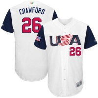 Team USA #26 Brandon Crawford White 2017 World Baseball Classic Authentic Stitched MLB Jersey