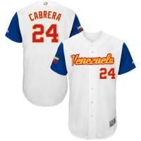 Team Venezuela #24 Miguel Cabrera White 2017 World Baseball Classic Authentic Stitched MLB Jersey