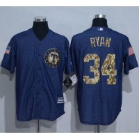 Texas Rangers #34 Nolan Ryan Denim Blue Salute to Service Stitched Baseball Jersey