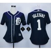 Tigers #1 Jose Iglesias Navy Blue Fashion Women's Stitched Baseball Jersey
