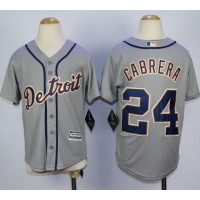 Tigers #24 Miguel Cabrera Grey Cool Base Stitched Youth Baseball Jersey