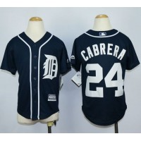 Tigers #24 Miguel Cabrera Navy Blue Cool Base Stitched Youth Baseball Jersey
