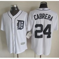 Tigers #24 Miguel Cabrera White New Cool Base Stitched Baseball Jersey