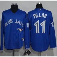 Toronto Blue Jays #11 Kevin Pillar Blue New Cool Base Long Sleeve Stitched Baseball Jersey