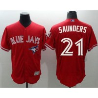 Toronto Blue Jays #21 Michael Saunders Red Flexbase Authentic Collection Canada Day Stitched Baseball Jersey