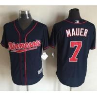 Twins #7 Joe Mauer Navy Blue New Cool Base Stitched Baseball Jersey