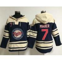 Twins #7 Joe Mauer Navy Blue Sawyer Hooded Sweatshirt Baseball Hoodie