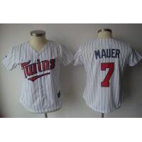 Twins #7 Joe Mauer White With Blue Strip Women's Fashion Stitched Baseball Jersey