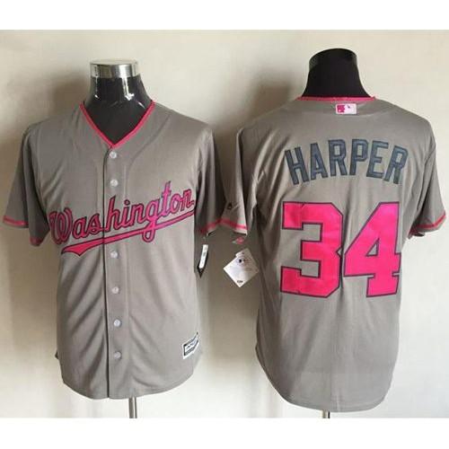 save off 945fa 2155c Washington Nationals #34 Bryce Harper Grey New Cool Base ...