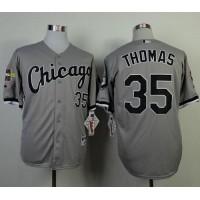 White Sox #35 Frank Thomas Grey Cool Base Stitched Baseball Jersey