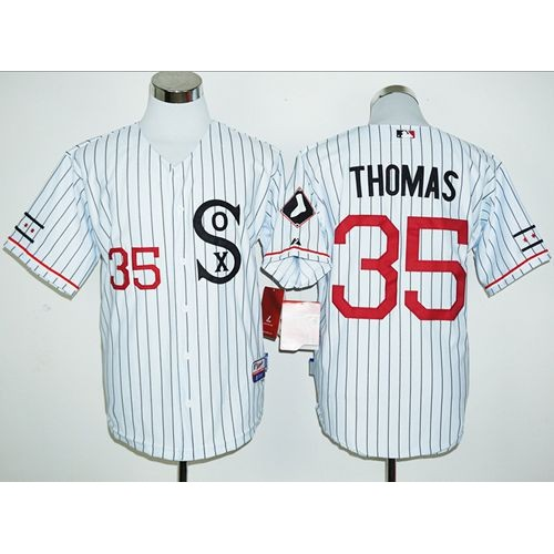 23dd77347 White Sox  35 Frank Thomas White(Black Strip) Cooperstown Stitched Baseball  Jersey