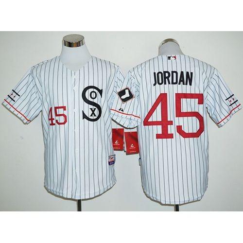 huge selection of e3f88 4923c White Sox #45 Michael Jordan White(Black Strip) Cooperstown ...