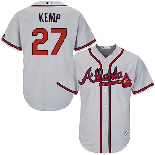 online store e96ce 3a55e Women's Atlanta Braves #27 Matt Kemp Grey Road Stitched MLB ...