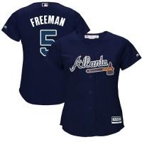 Women's Atlanta Braves #5 Freddie Freeman Navy Blue Alternate Stitched MLB Jersey