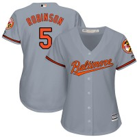 Women's Baltimore Orioles #5 Brooks Robinson Grey Road Stitched MLB Jersey